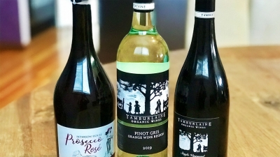 Three bottles of local Hunter Valley wine