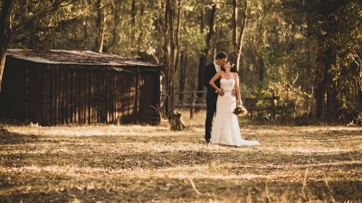 Couple posing for wedding photo amongst the trees